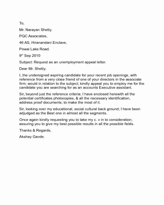 Unemployment Letter Sample Luxury Unemployment Appeal Letter Sample Edit Fill Sign