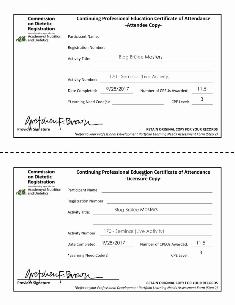 Uniform Certificate Of attendance Best Of Cpe Certificate Of attendance 2017