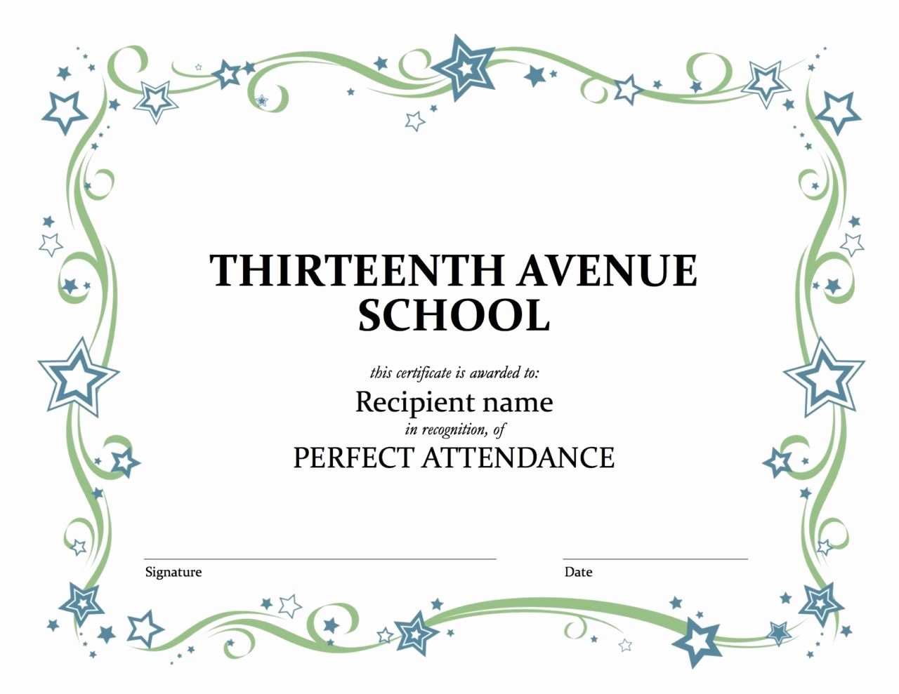 Uniform Certificate Of attendance Elegant Perfect attendance Thirteenth Avenue Dr Mlk Jr School