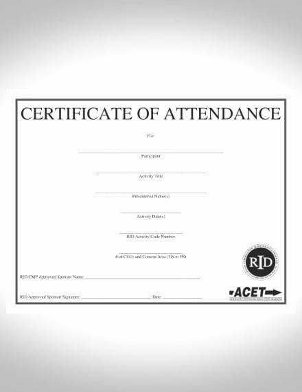 Uniform Certificate Of attendance Lovely 22 attendance Certificate Examples & Templates