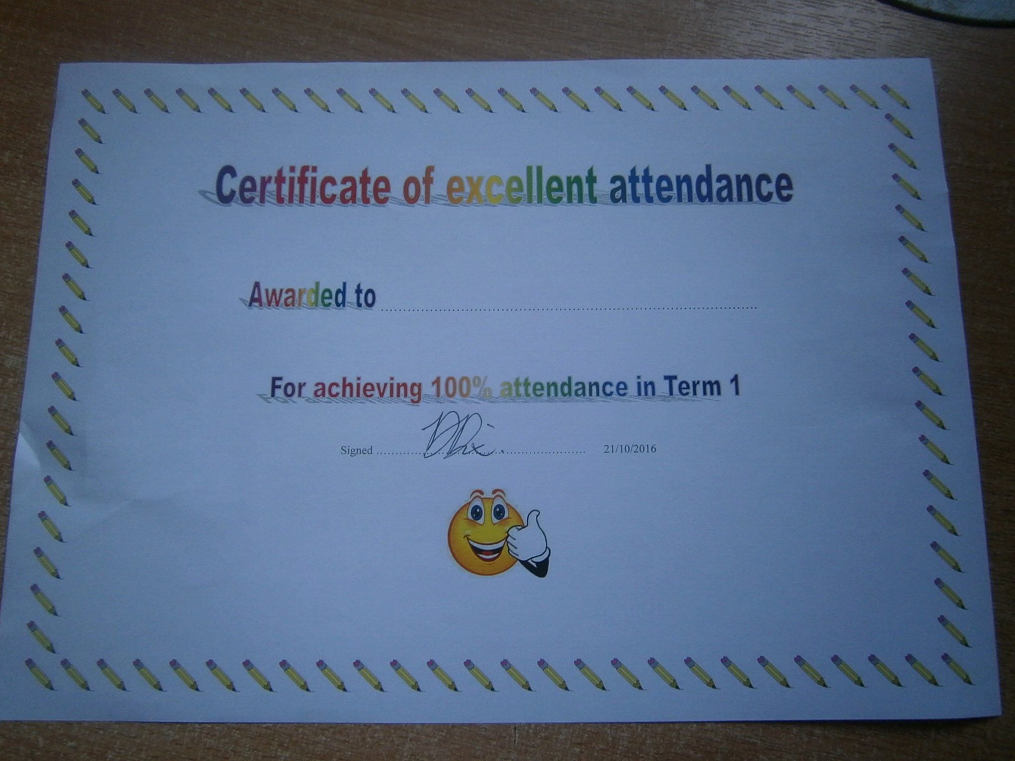Uniform Certificate Of attendance New attendance What S Up at Oldbury School