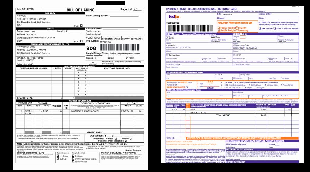 Ups Straight Bill Of Lading Lovely Fedex Motor Freight Bill Lading Impremedia