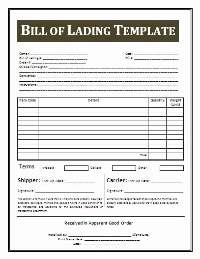 Ups Straight Bill Of Lading Lovely Printable Sample Bill Lading Template form