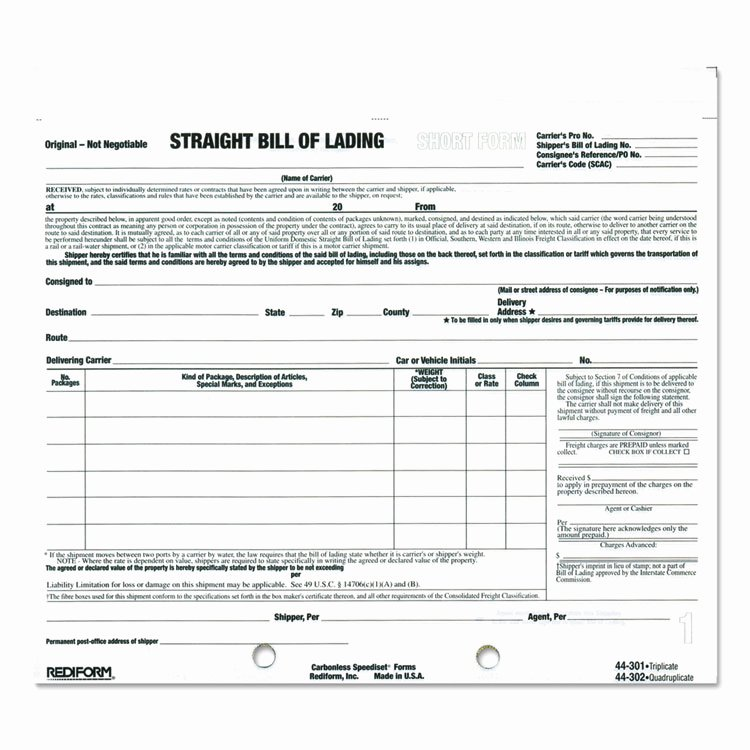 Ups Straight Bill Of Lading Unique Bill Of Lading Short form by Rediform Red