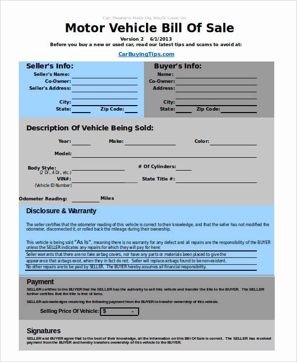 Utah Automobile Bill Of Sale Fresh Auto Bill Of Sale Template 6 Free Excel Pdf Documents