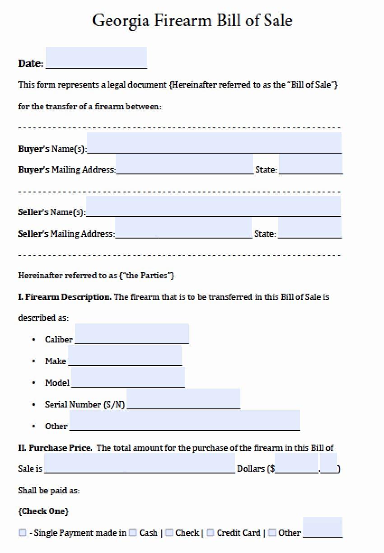Utah Automobile Bill Of Sale Inspirational Free Georgia Firearm Gun Bill Of Sale form Pdf