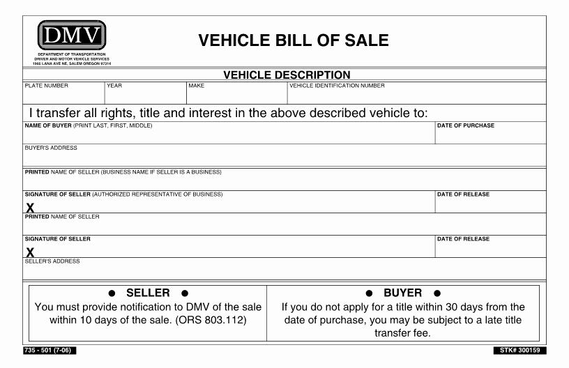 Utah Automobile Bill Of Sale Lovely Free oregon Dmv Bill Of Sale form Download Pdf