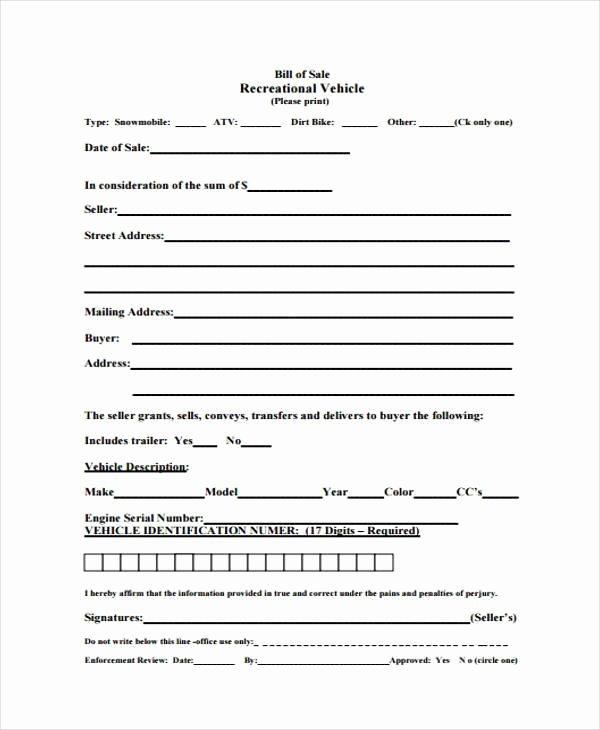 Utah Bill Of Sale Automobile Best Of Free 7 Sample atv Bill Of Sale forms In Pdf