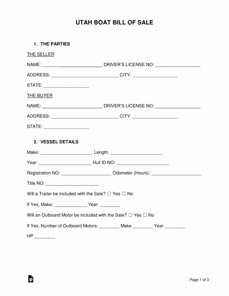 Utah Bill Of Sale Automobile Luxury Free Utah Boat Bill Of Sale form Word Pdf