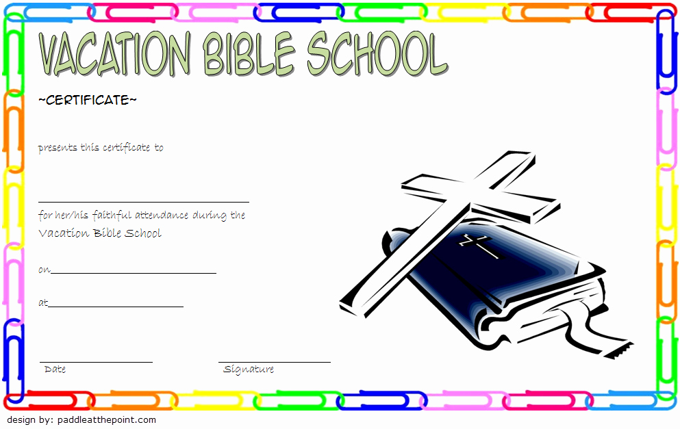 Vacation Bible School Certificate Of Completion Awesome Vbs Certificate Template 2