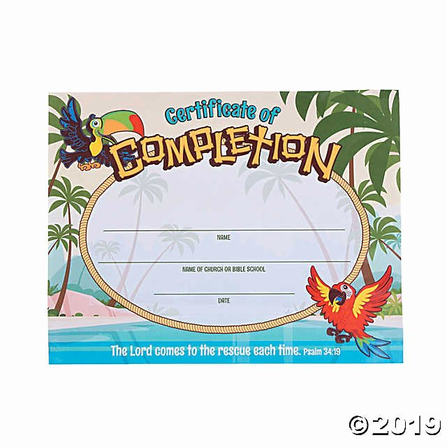 Vacation Bible School Certificate Of Completion Best Of island Vbs Certificates Of Pletion