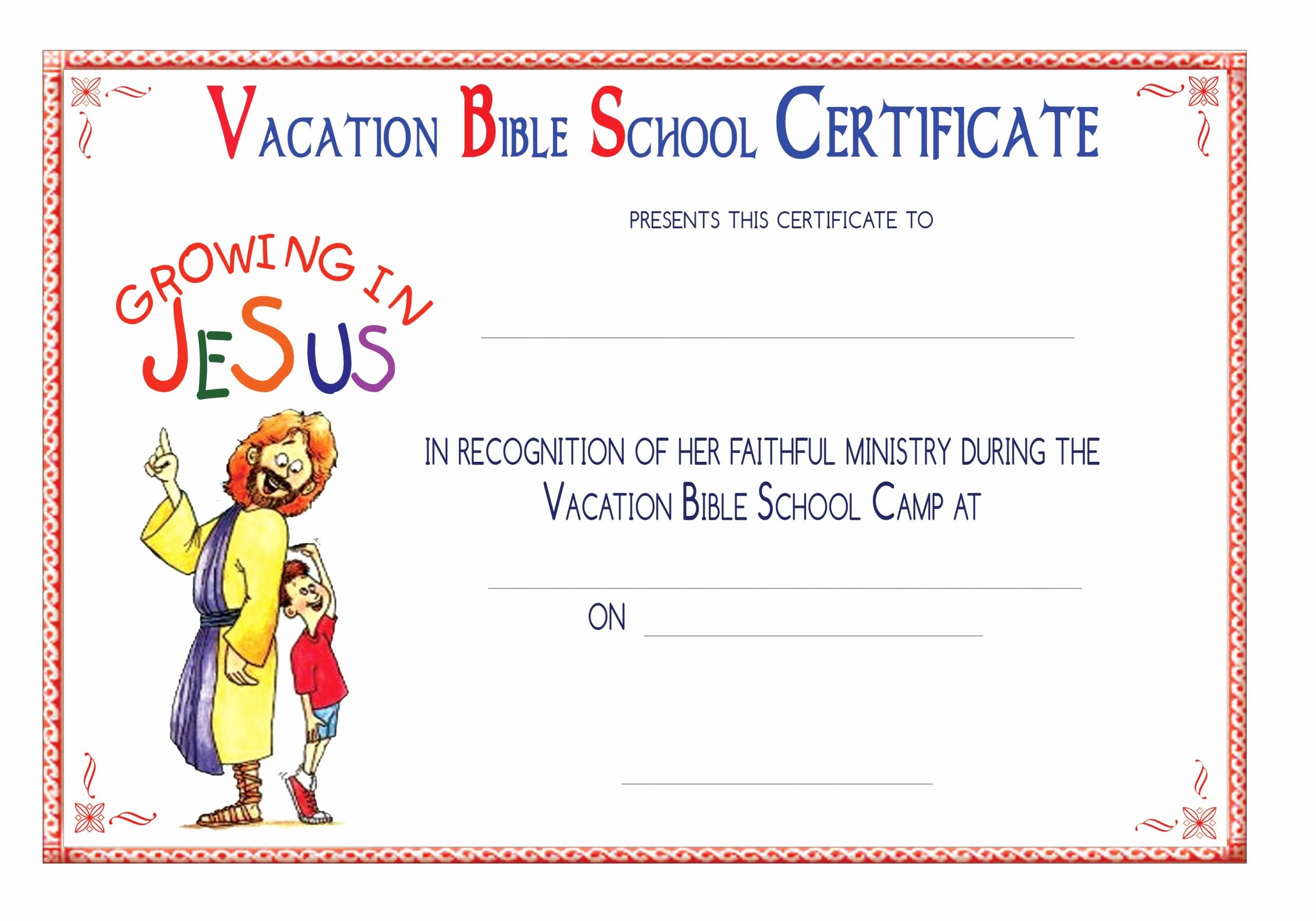 Vacation Bible School Certificate Of Completion Best Of Vbs Certificate Templatesencephalos