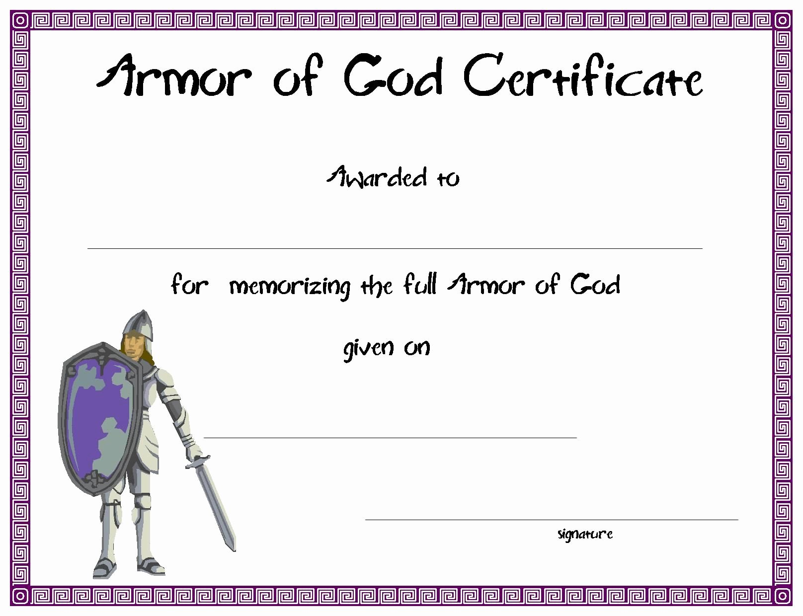 Vacation Bible School Certificate Of Completion Luxury Armor Of God Certificate for