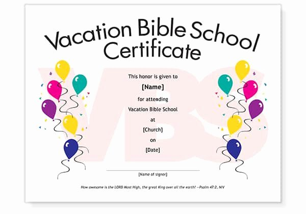 Vacation Bible School Certificate Templates Lovely Free Vbs attendance Certificate Template Download