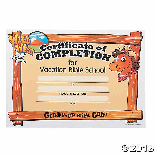"Vacation Bible School Certificate Templates Lovely ""wild West"" Certificates Of Pletion Discontinued"