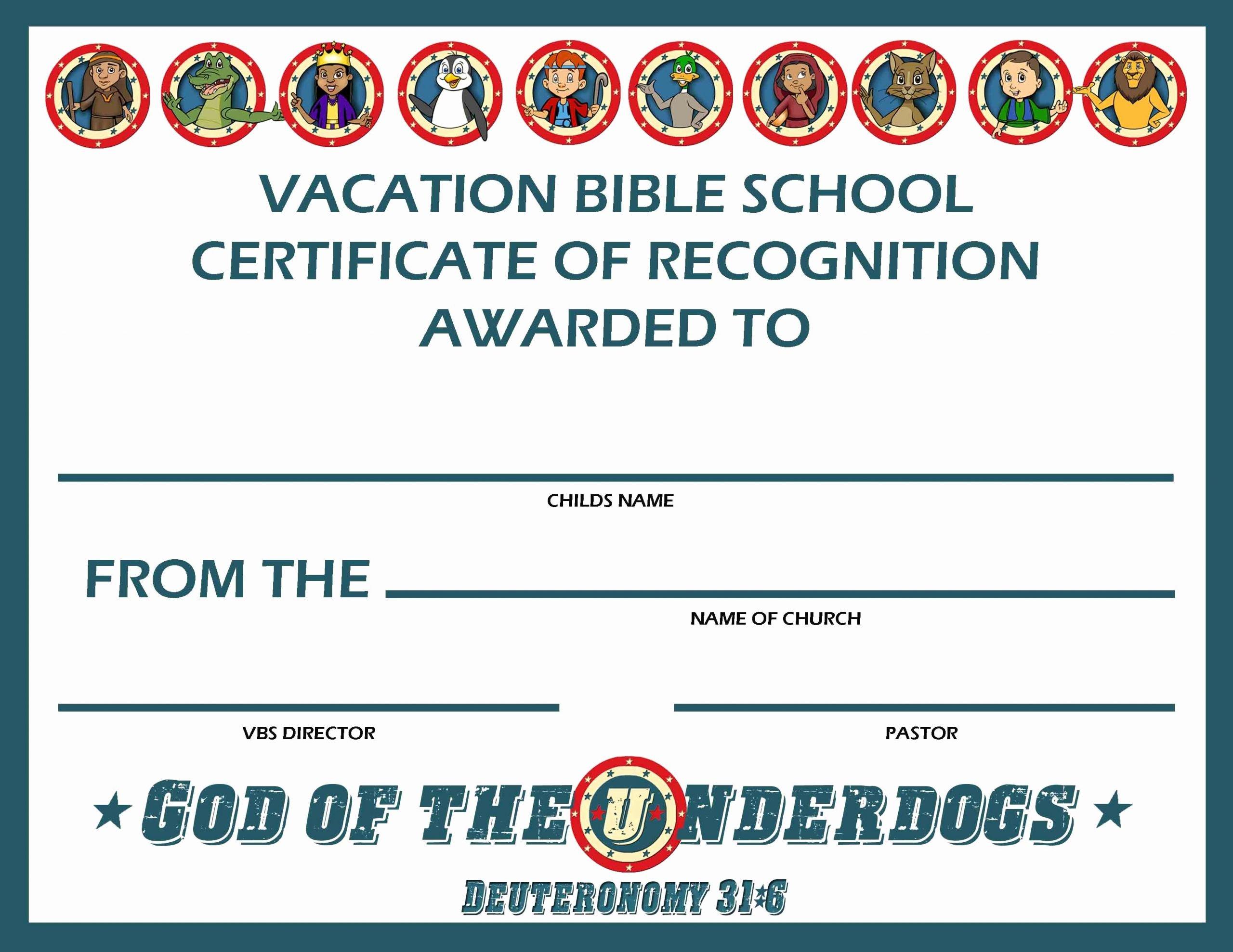 Vacation Bible School Certificate Templates Luxury Bizoptimizer Best Template Sample