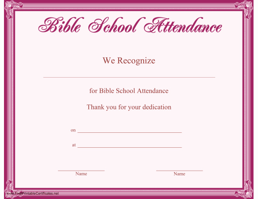 Vacation Bible School Certificate Templates New This Printable Certificate Bordered In Purple Recognizes