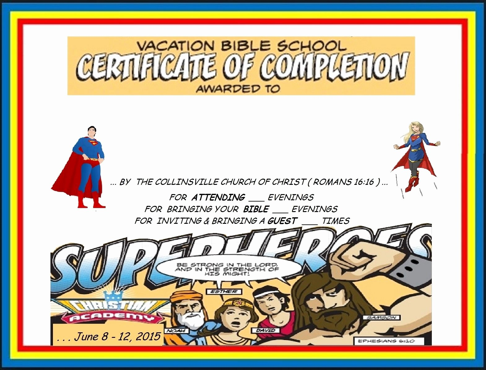 Vacation Bible School Certificates Printable Awesome Vbs Certificate Superhero Red Capes