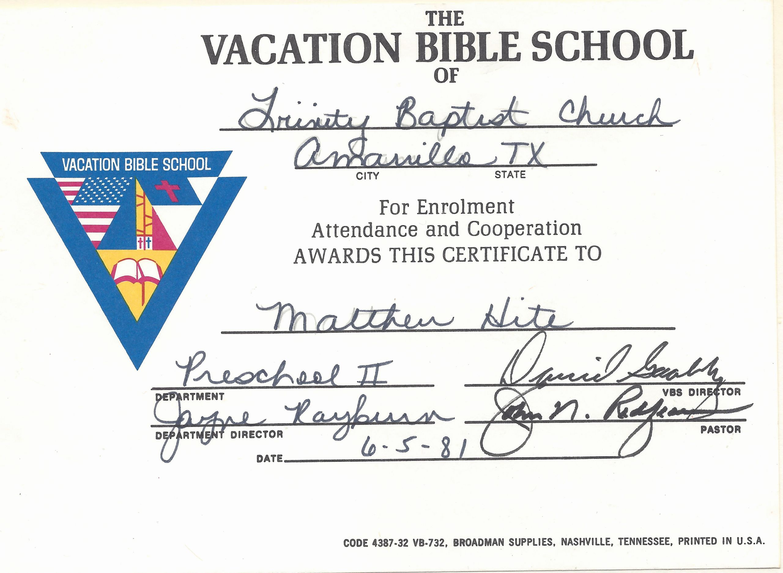 Vacation Bible School Certificates Printable Lovely Trinity Baptist Church – Matthew Walter Hite Amarillo Texas