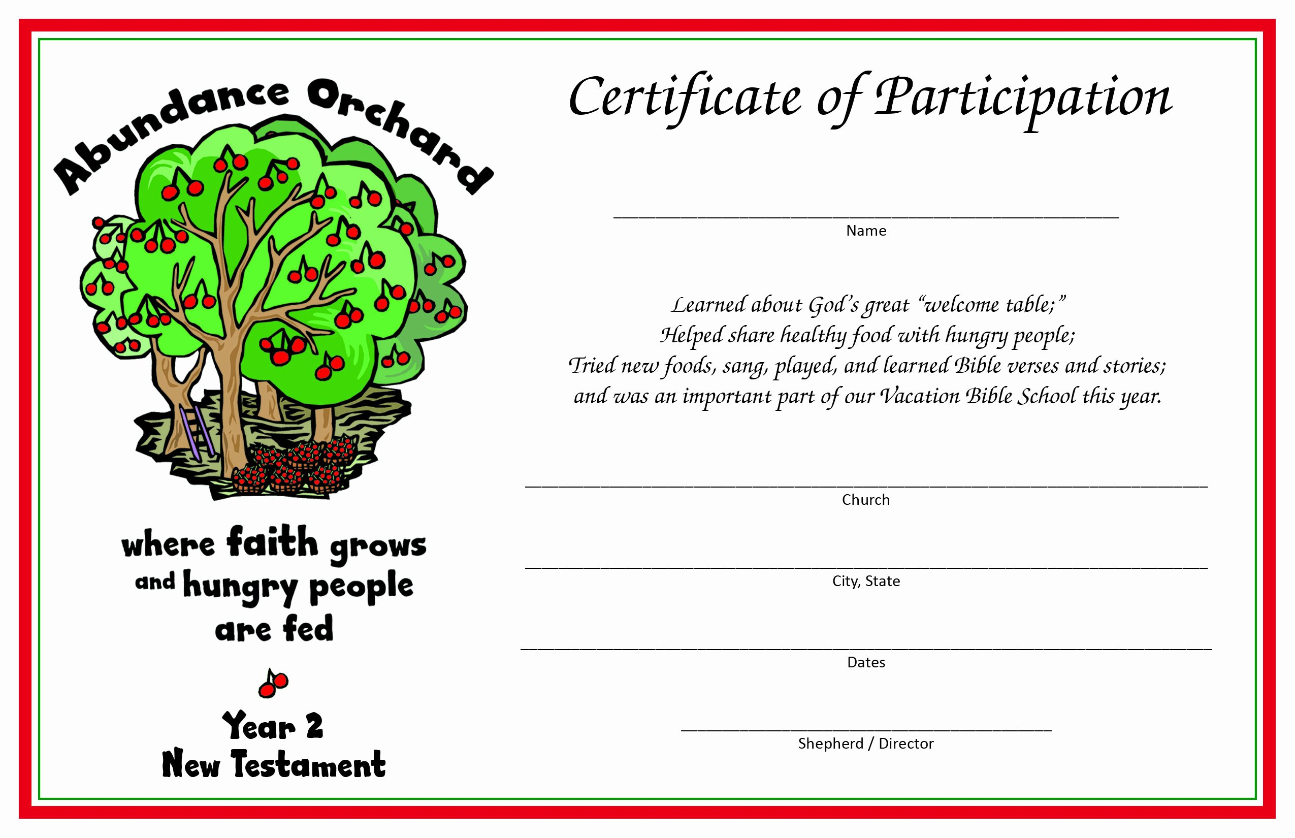 Vacation Bible School Certificates Printable Unique Certificate Of Participation Year 2 New Testament