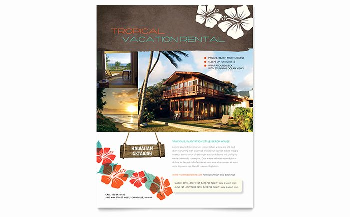 Vacation Rental Business Plan Template Awesome Vacation Rental Flyer Template Word & Publisher