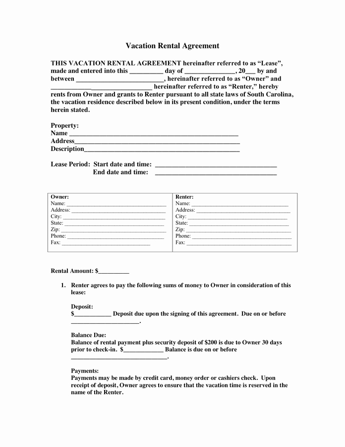 Vacation Rental Business Plan Template Fresh Vacation Rental Agreement In Word and Pdf formats