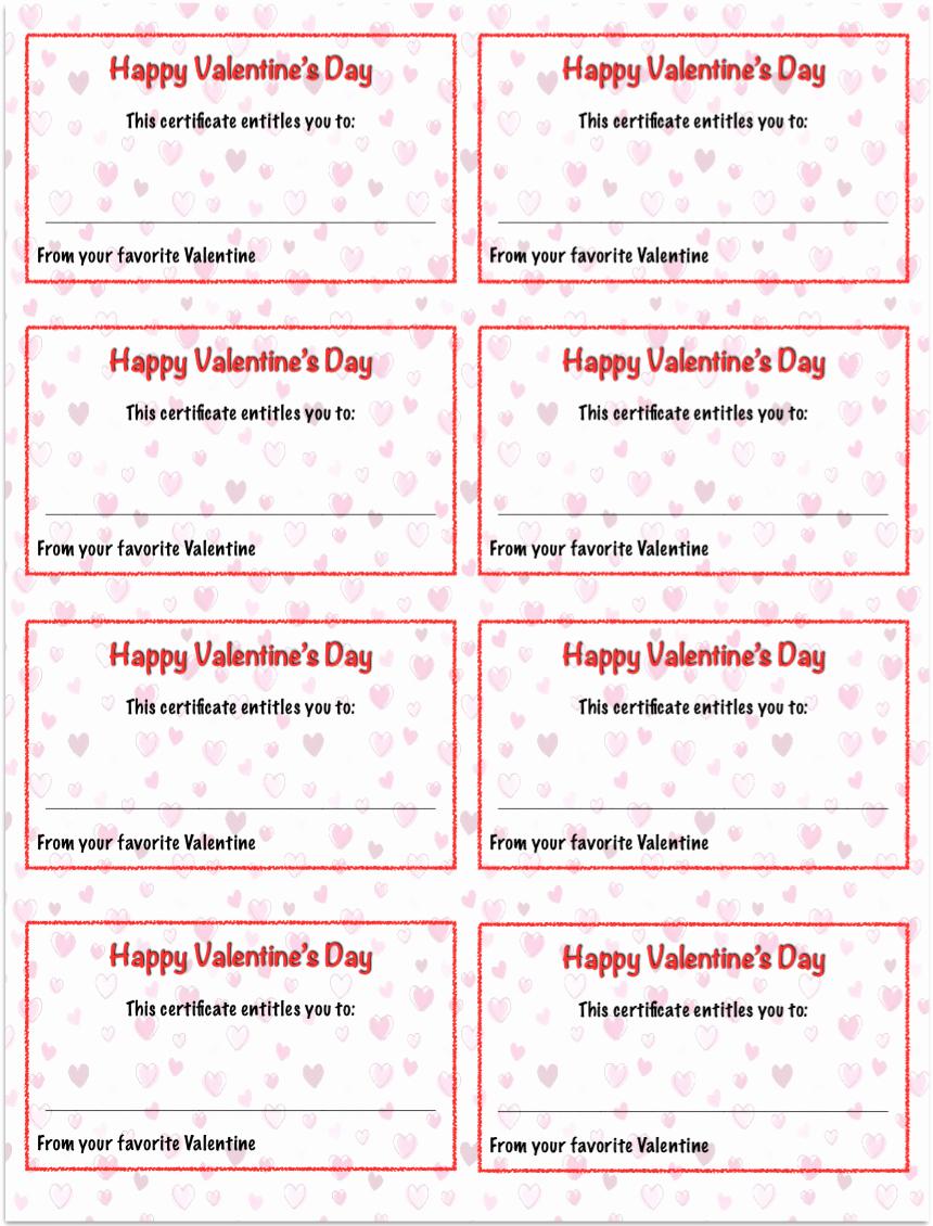 Valentine Gift Certificate Template Beautiful Valentine S Day Printables Gift Certificates the