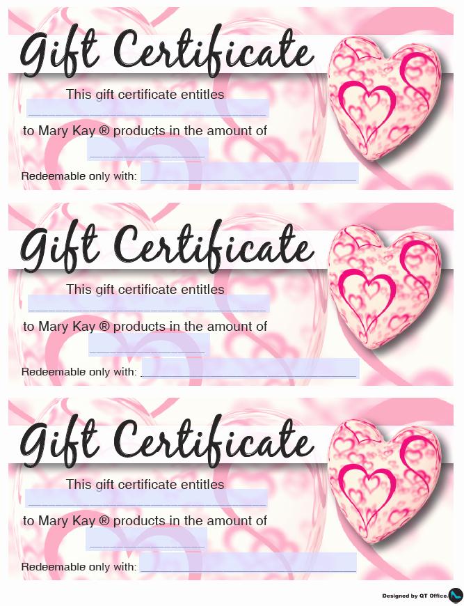 Valentine Gift Certificate Template Elegant Mary Kay Valentine S Gift Certificates Qt Fice Blog