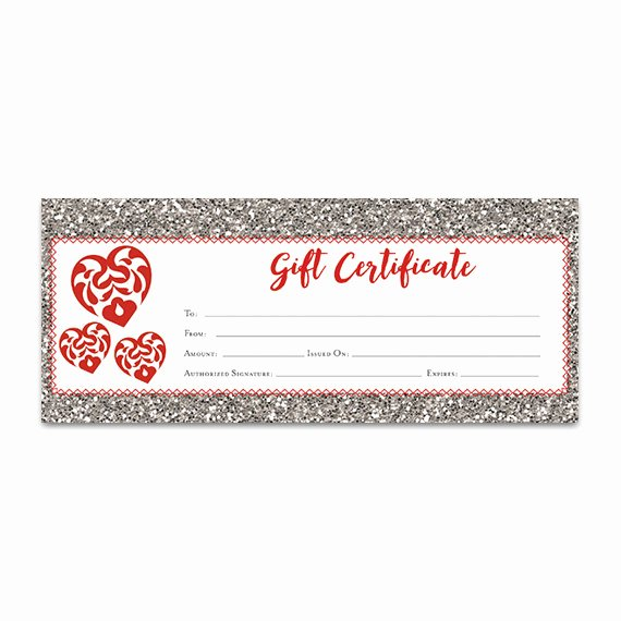 Valentine Gift Certificate Template Free Lovely Red Heart Glitter Gift Certificate Download Premade