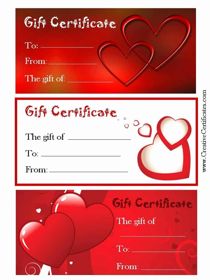 Valentine Gift Certificate Template Free Unique Valentine S Gift Certificates