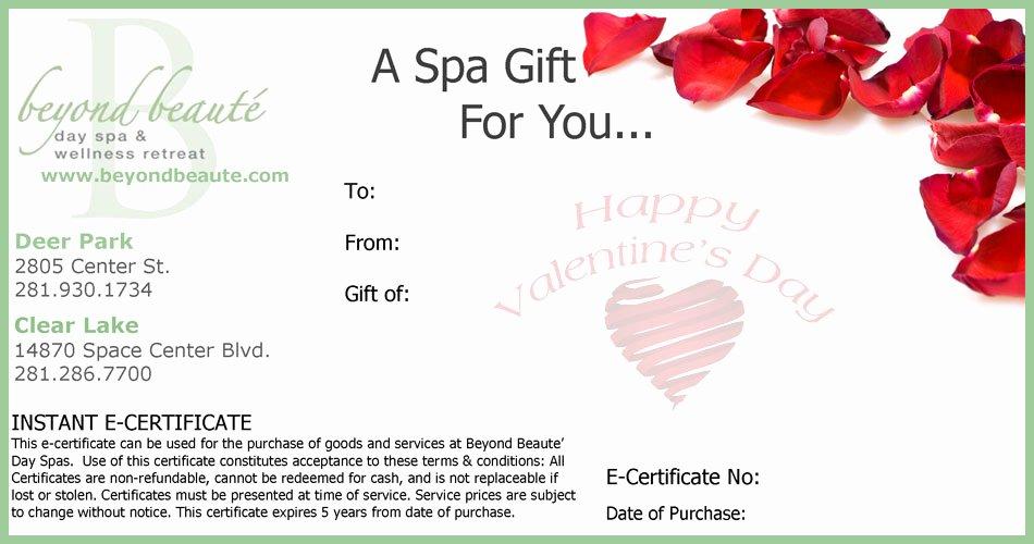 Valentine Gift Certificate Template Fresh Beyond Beauté T Card