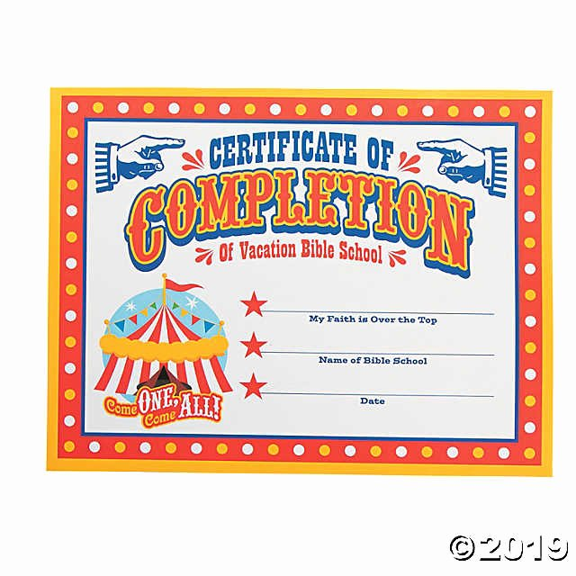 "Vbs Certificate Of attendance Awesome ""over the top"" Certificates Of Pletion Discontinued"