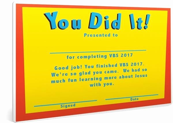 Vbs Certificate Of attendance Elegant Vbs Certificate Of Pletion