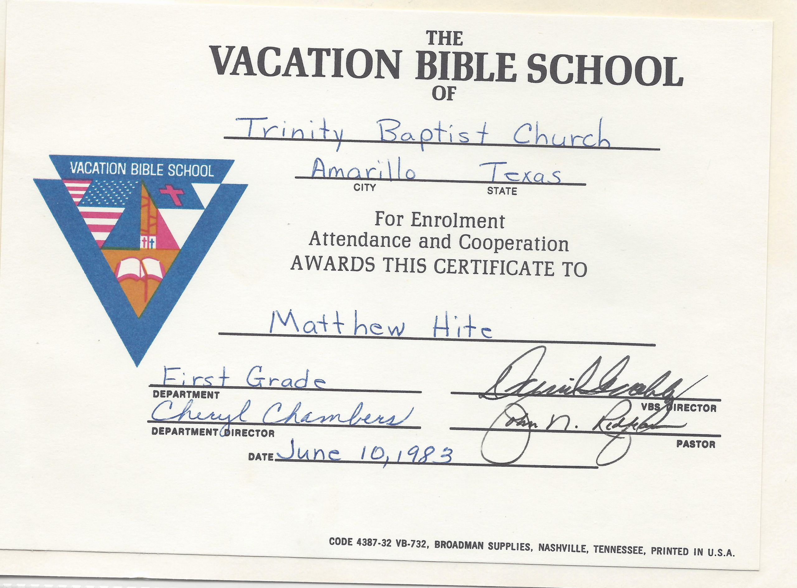 Vbs Certificate Of attendance Inspirational Amarillo – Page 6 – Matthew Walter Hite Amarillo Texas