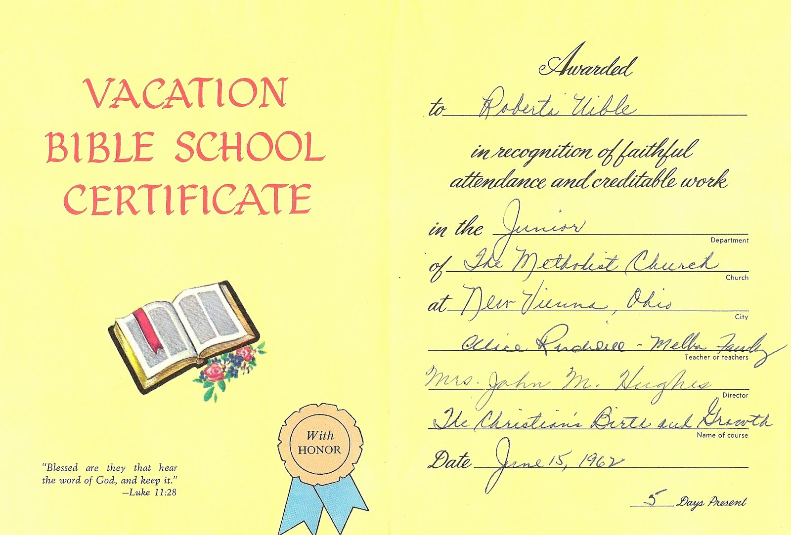 Vbs Certificate Of attendance Luxury Uibles A Family Blog 1962 Roberta S Vacation Bible