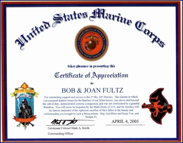 Veteran Appreciation Certificate Template Awesome Military Certificate Appreciation Template Free