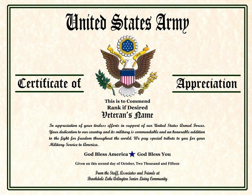 Veteran Appreciation Certificate Template Best Of Military Veterans Appreciation Certificates