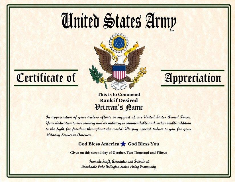 Veteran Appreciation Certificate Template Best Of Military Veterans Appreciation Certificates