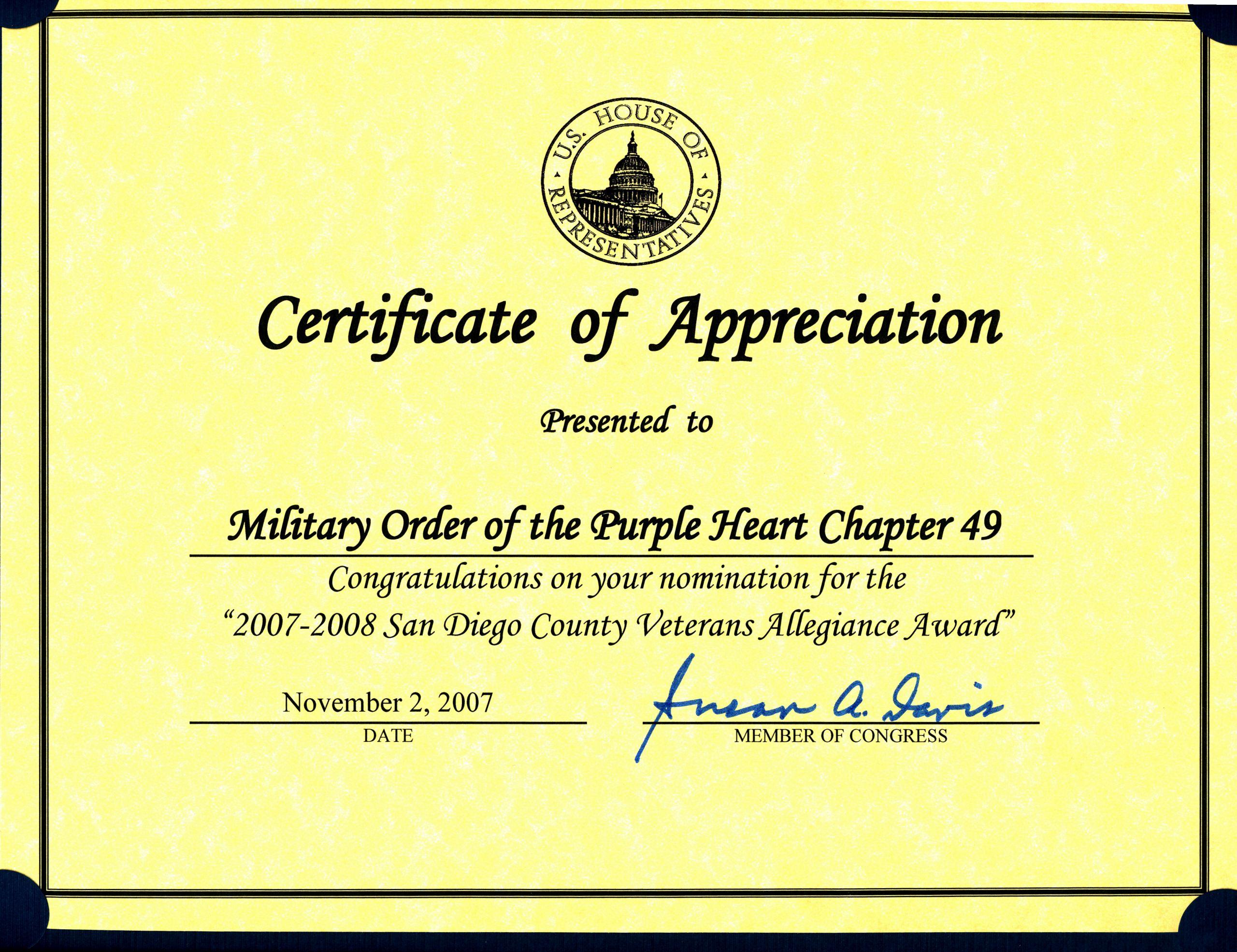 Veteran Appreciation Certificate Template Fresh Military order Of the Purple Heart Sunny Jones Chapter 49