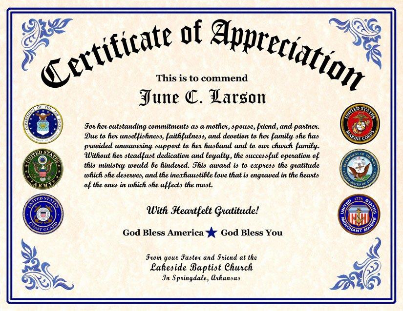 Veteran Appreciation Certificate Template Fresh Military Veterans Appreciation Certificates