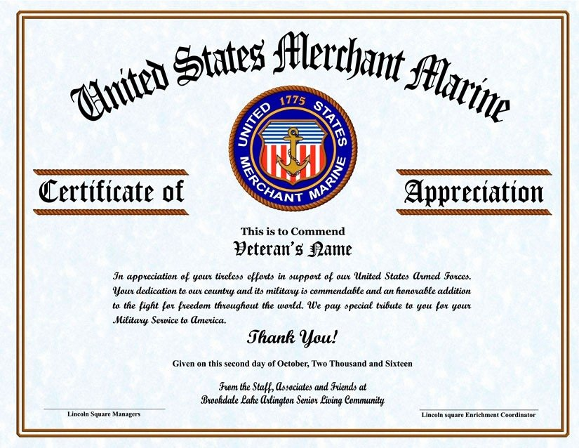 Veteran Appreciation Certificate Template Inspirational Certificate Appreciation for Your Service Flowersheet