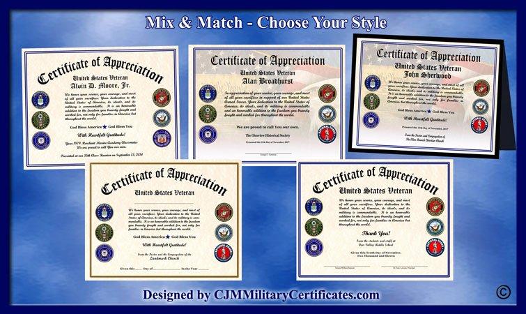 Veteran Appreciation Certificate Template Inspirational Military Veterans Appreciation Certificates