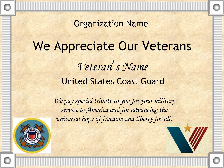 Veteran Appreciation Certificate Template Lovely Certificate Appreciation Template for Veterans