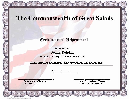 Veteran Appreciation Certificate Template Lovely This Certificate Of Achievement Has A Patriotic Design