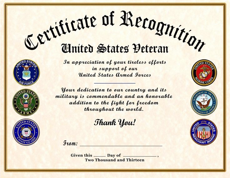 Veterans Appreciation Certificate Template Awesome Certificate Of Appreciation Template