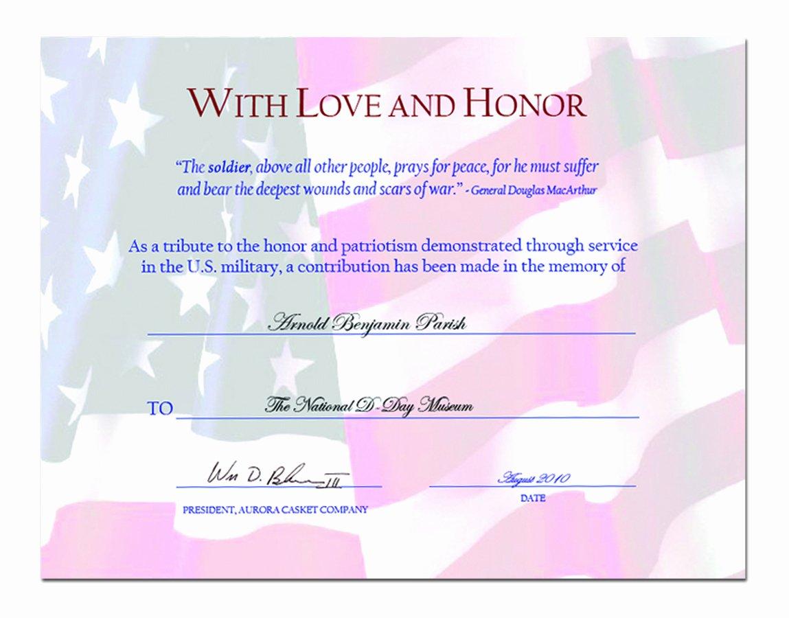 Veterans Appreciation Certificate Template Inspirational Aurora Casket Partners with Veterans Programs for A New