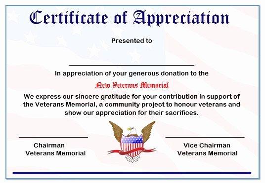 Veterans Appreciation Certificate Template Lovely Honoring Veterans Certificate Printable