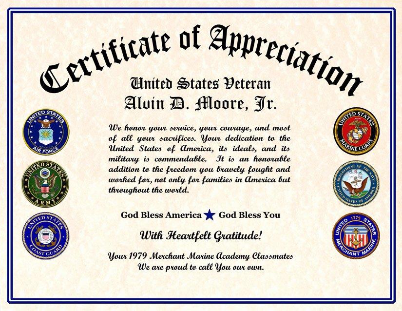 Veterans Appreciation Certificate Template Lovely Military Veterans Appreciation Certificates