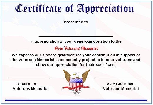 Veterans Appreciation Certificate Template Luxury 33 Certificate Of Appreciation Template Download now