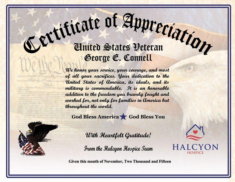 Veterans Appreciation Certificate Template New Military Veterans Appreciation Certificates